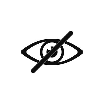 Eye no sign or icon isolated vector element. Flat eye no for concept design.Vector flat illustration. Eye icon vector.