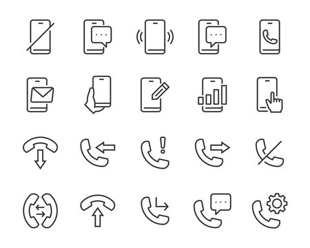 set of phone icons, call, telephone, chat, voice, battery