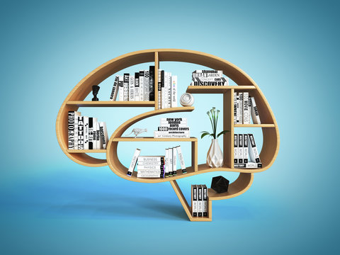 Bookshelves in the shape of human brain, intelligence book shelf concept 3d rendering