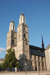 the Grossmünster  Church in Zurich Switzerland on a clear summer day