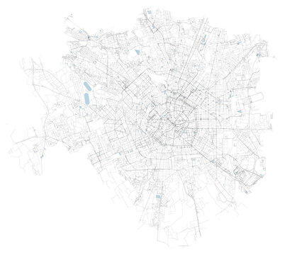 Satellite map of Milan, zones and municipalities. Streets of the Lombard capital. Lombardy. Italy