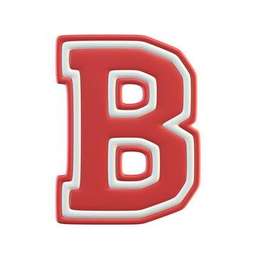 Classic style Sport Team font. Vintage sport font for american football, baseball or basketball 3d illustration, letter B