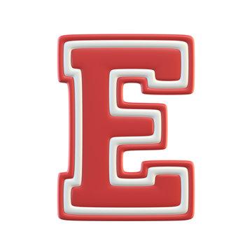 Classic style Sport Team font. Vintage sport font for american football, baseball or basketball 3d illustration, letter E