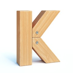 Wood font, 3d alphabet made of wooden parts, 3d rendering, letter K