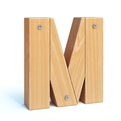 Wood font, 3d alphabet made of wooden parts, 3d rendering, letter M