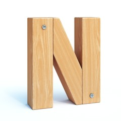 Wood font, 3d alphabet made of wooden parts, 3d rendering, letter N