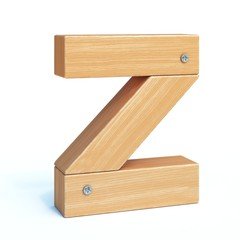 Wood font, 3d alphabet made of wooden parts, 3d rendering, letter Z