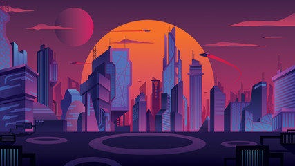 Futuristic City Landscape Wall mural