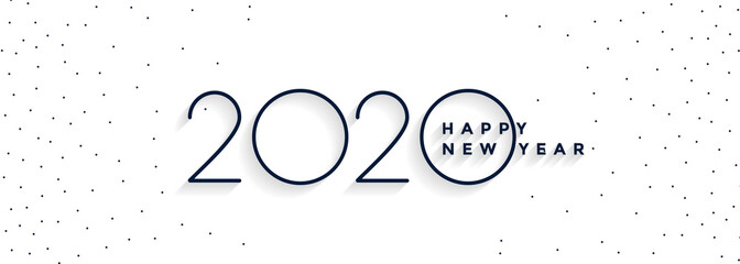 clean minimal 2020 happy new year white banner design Fotomurales