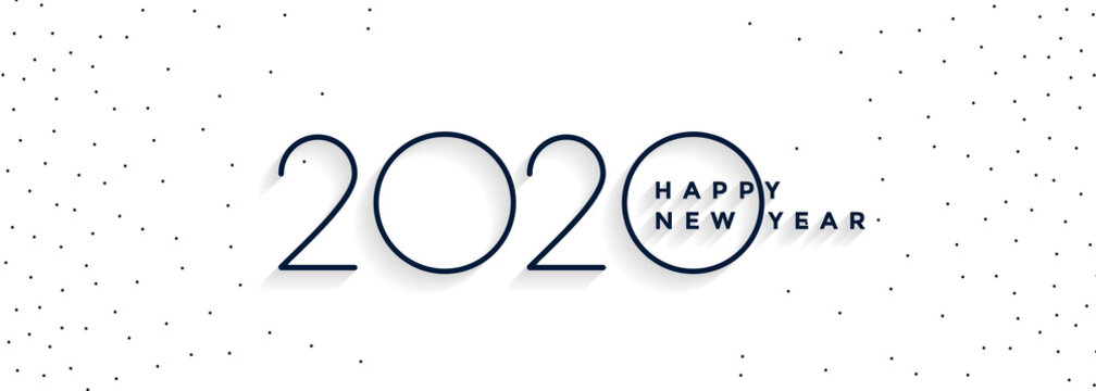 clean minimal 2020 happy new year white banner design