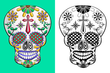 Day of the dead, Mexican sugar skull on green and white background.