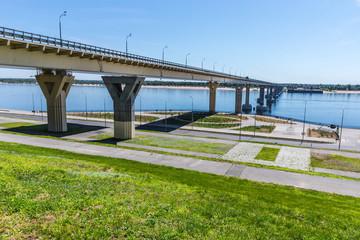 Volgograd bridge across the Volga River, one of the largest transport infrastructure facilities of Russian significance in Volgograd, Russia
