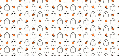 Seamless repeat pattern with cute ghosts, candy corn, white, orange, black. Vector illustration. Line art. Design concept for Halloween background, packaging, wallpaper, wrapping paper.