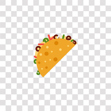 taco icon sign and symbol. taco color icon for website design and mobile app development. Simple Element from gastronomy set collection isolated on black background.