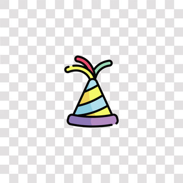 party hat icon sign and symbol. party hat color icon for website design and mobile app development. Simple Element from birthday collection isolated on black background.