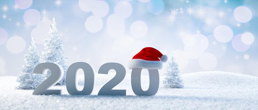 Jahreszahl 2020 im Schnee mit Weihnachtsmütze