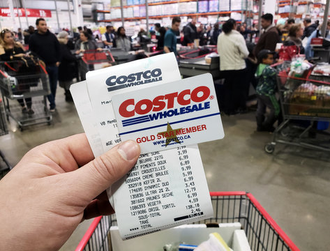 costco receipt and membership card