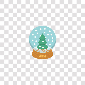 snow globe icon sign and symbol. snow globe color icon for website design and mobile app development. Simple Element from basic flat icons collection isolated on black background.