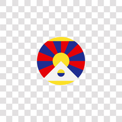 tibet icon sign and symbol. tibet color icon for website design and mobile app development. Simple Element from countrys flags collection isolated on black background.