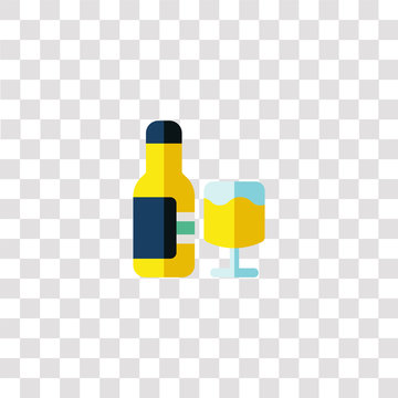 wine bottle icon sign and symbol. wine bottle color icon for website design and mobile app development. Simple Element from luxury shop collection isolated on black background.
