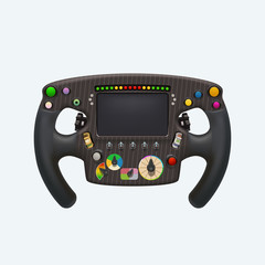 formula steering wheel on white
