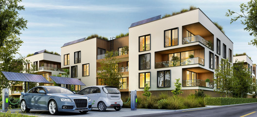 Modern residential buildings and electric cars