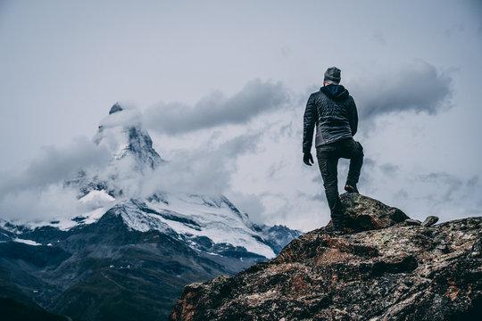 Man looking to Matterhorn Mountain