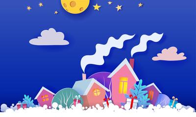 Funny winter village Christmas card. Paper art