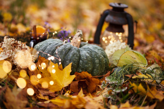 halloween and thanksgiving background with pumpkins,lantern,mulled wine outdoor