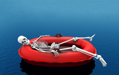 3d rendering. A human skeleton bone lying on red life rescue boat alone on blue water surface background. with clipping path.