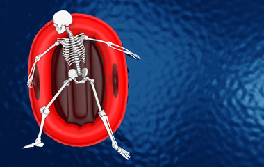 3d rendering. Aerial view of  A human skeleton bone lying on red life rescue boat alone on blue water surface background. with clipping path.