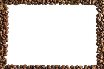 An image of a frame lined with roasted coffee beans scattered around the edges, isolated on white. Center place for text.
