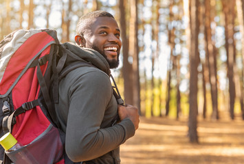 African man wearing backpack standing on forest trail Wall mural