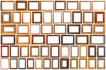 Fototapeta Collection of golden picture frames isolated on white background set