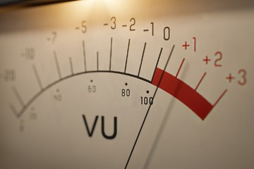 Analog VU meter measuring volume level of sound. 3D rendered ill