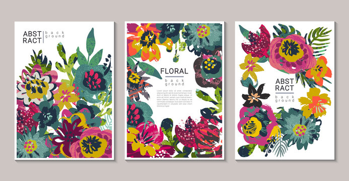 Vector collection of trendy creative cards with hand painted flowers, leaves and different textures