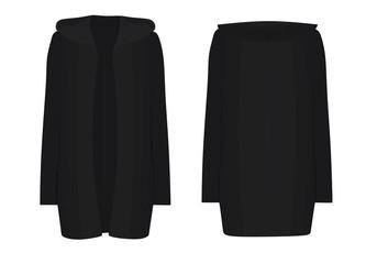 Women black hooded cardigan. front open. vector illustration