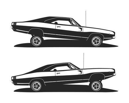 American muscle low rider car vector. Classic lowrider cars profile. Set tuning vehicle template for print t shirt or logo motor club.