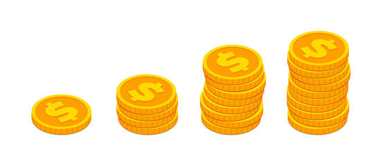 Isometric gold coin stack like income graph