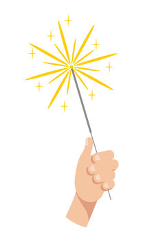 Burning sparkler in hand flat vector illustration