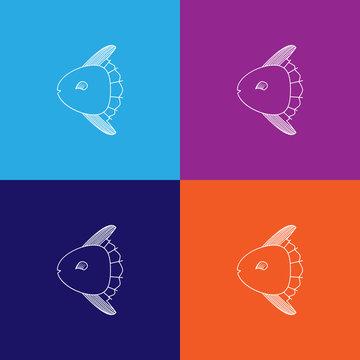 moon fish icon. Element of popular sea animals icon. Premium quality graphic design. Signs, symbols collection icon for websites, web design