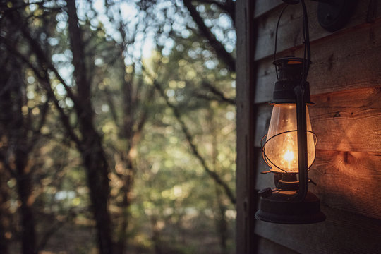 Lantern porch light  in the woods