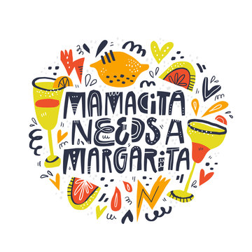 Mamacita needs margarita lettering in abstract frame. Difficult motherhood slogan with spanish slang word scandinavian style illustration. Textile, poster decorative print. Creative maternity saying