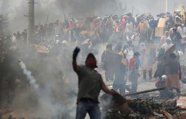 Protest against Ecuador's President Moreno's austerity measures in Quito