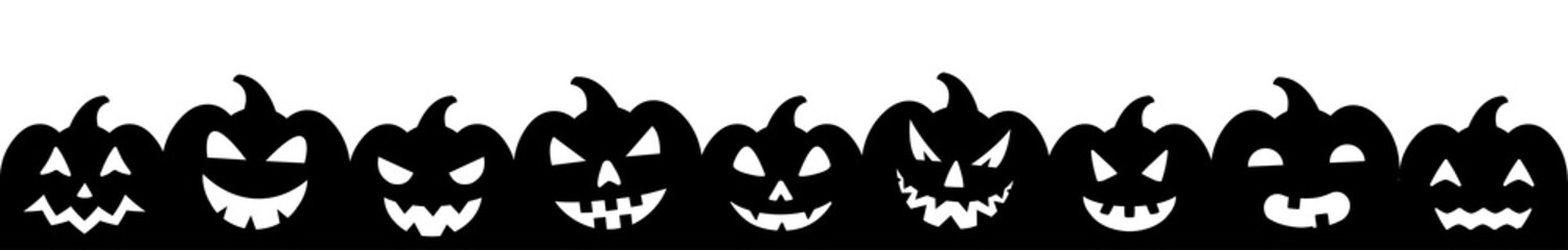 Halloween banner with set  silhouettes of pumpkins – stock vector