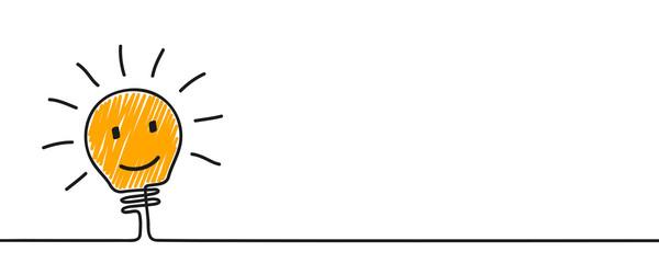 Idea concept, creative funny bulb sign, innovations – stock vector