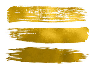Collection of gold paint, brush strokes – vector