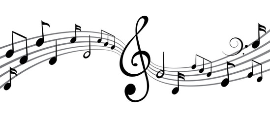 Music notes wave, group musical notes background – vector for stock