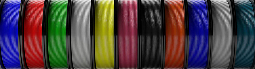 Fototapeta Filaments for 3D printing.  ABS wire plastic for 3d printer, variety of colors. 3d illustration obraz