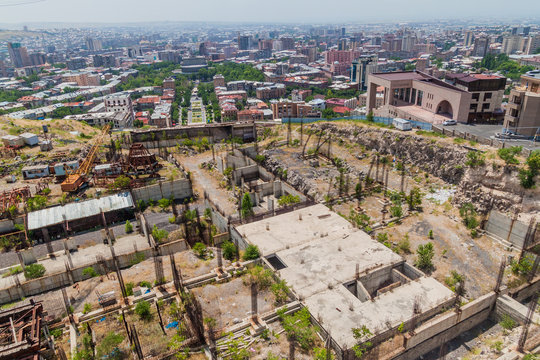 Abandoned  construction site at the top of the Cascade complex in Yerevan, Armenia